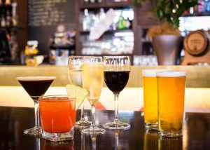 selection of drinks at bar
