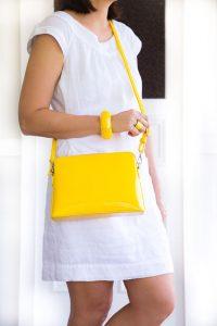 yellow handbag and fashion accessories