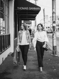 models walking down the street