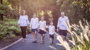 family walking in the park portrait