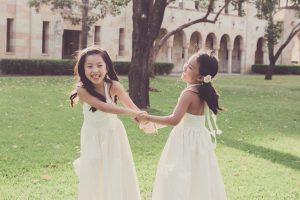 girls twirling portrait