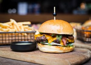 burger and fries food photography
