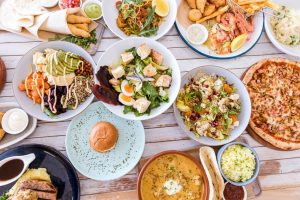 variety of dishes to share food photography