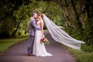 bride and groom portrait in park