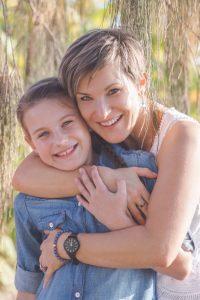 mother hugging her son portrait