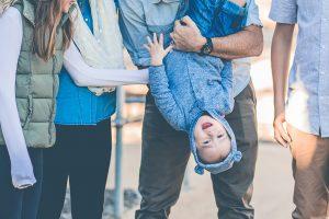 toddler upside down family portrait